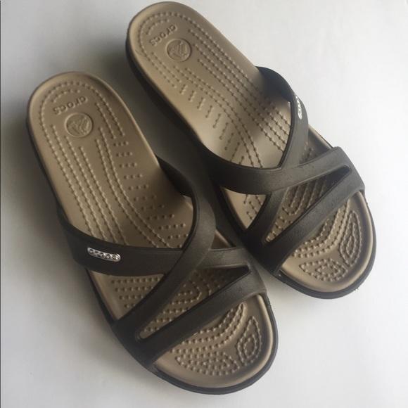7fc9c7f28a1675 CROCS Shoes - CROCS Women s brown Patricia Wedge sandal. Size 5
